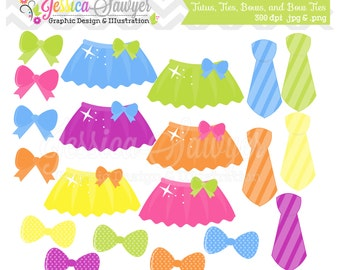 INSTANT DOWNLOAD,  tutu clipart, tie clip art, bow graphic, bow tie image, for scrapooking, invitations, commercial use