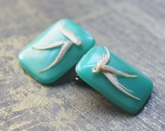 c 1940 Pistachio Turquoise-Green Square Celluloid Clip Earrings with Ivory Birds-Beautiful Gluey Mess TT Team