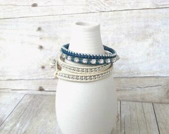 Nautical Bracelet Set, Wrap Bracelets, Nautical Bracelets, Royal Blue Bracelet, White Bracelet, Gift for Her, Party Jewelry