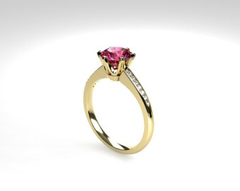 Pink tourmaline ring, diamond, Yellow gold, Engagement ring, solitaire, Pink engagement, Micro pave, Diamond engagement