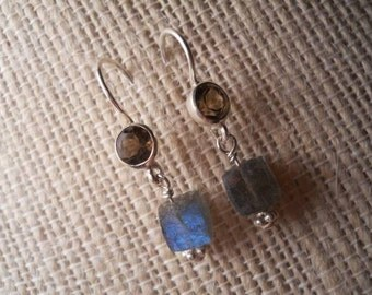 Labradorite cubes in  sterling silver ... These earrings have lots of blue flash, these are simple and sweet for everyday wear