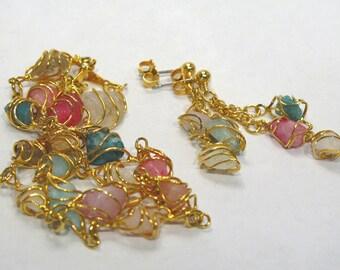 Pastel Caged Gemstones Bracelet and Pierced Earrings - 3 piece Set - AVON - Vintage