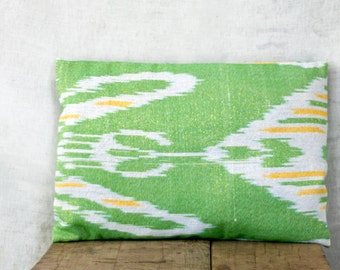 12x18 cushion cover, ONE, ikat cotton, peridot green with white and yellow, with golden metallic, made in Uzbekistan