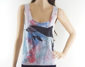 Whale Dolphin Cute Animal Design Tank Top Dyed Fabrics Women Crop Top Tee Shirt Whale T-Shirt Screen Print Size S