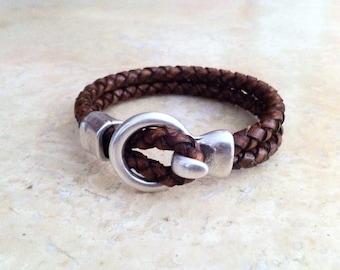 mens leather bracelet, leather bracelet for men, Braided leather bracelet, silver plated, hook clasp, plus size, gift for dad