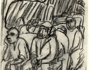 In the Metro, Packed. Original Charcoal Drawing, Modern Contemporary Expressionist Fine Art