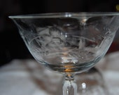 Set of 1920's Etched Champagne Glasses ECS