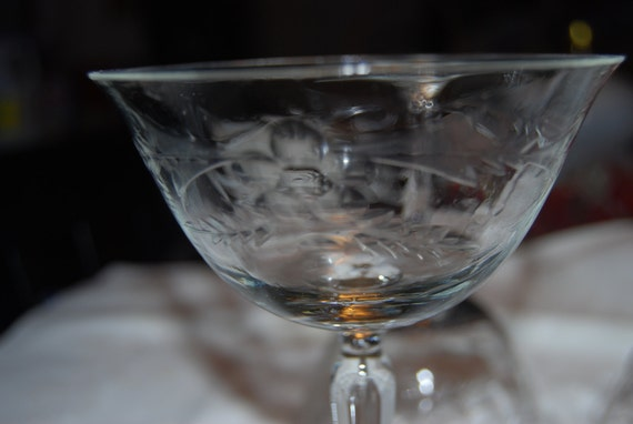 SAVE FOR KATIE Pair of 1920's Etched Champagne Glasses