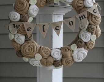 Jute Yarn Wreath/Welcome Banner/EverydaySpring/Summer/Winter/Fall/Burlap Flowers/Roses/Felt Rosettes