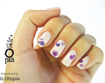 Purple Geranium Flower Nail Sticker
