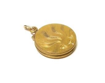 Art Deco Round Gold Filled Locket with Sunrise Design - Watch Fob - Pendant - Keepsake - Portrait - Memories - Picture Frame # 1323