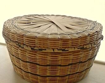 Vintage Woven Wicker Basket.Sew&Craft Storage.Hinged Top.Cottage Decor