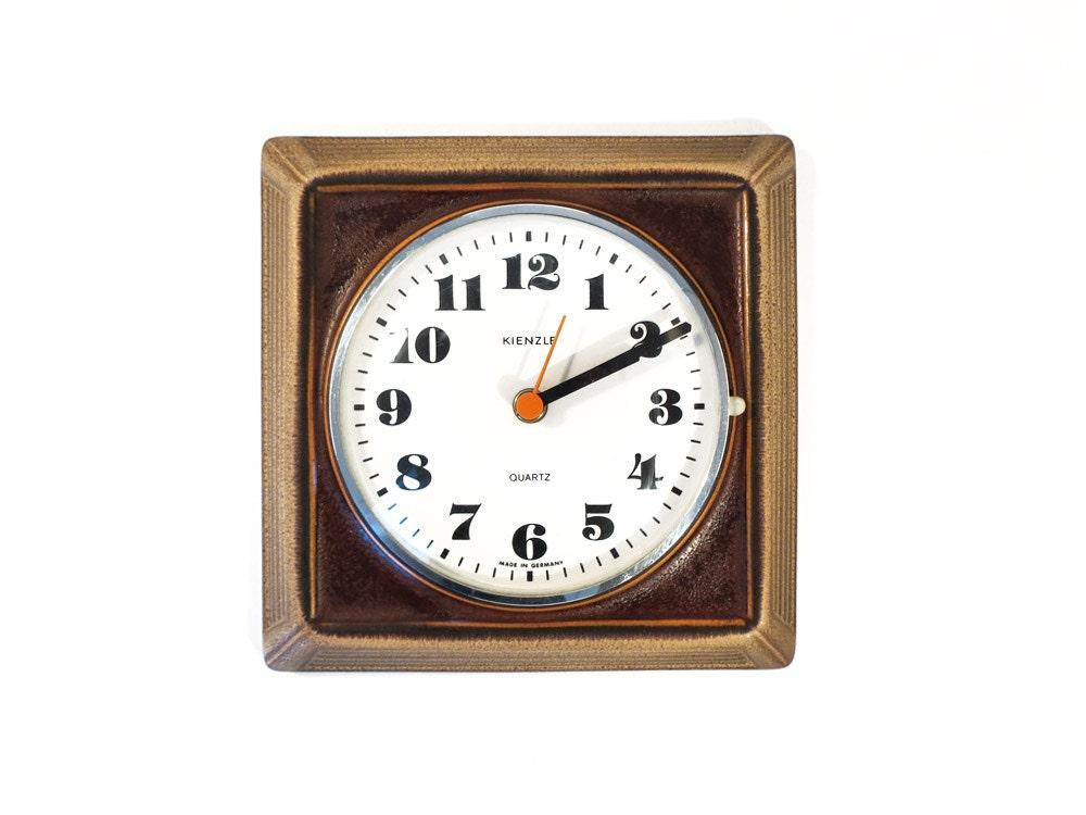 vintage kienzle brown wall clock west german ceramic