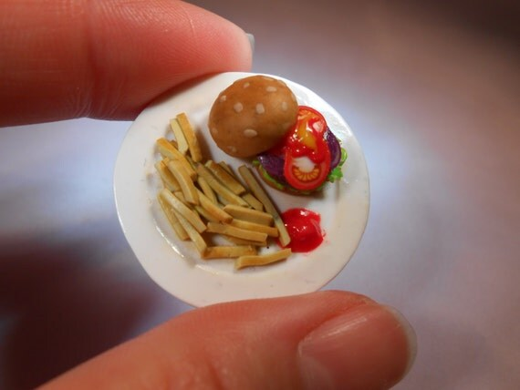 Burger and Fries Brooch/Badge, Miniature Food, Fimo Polymer Clay