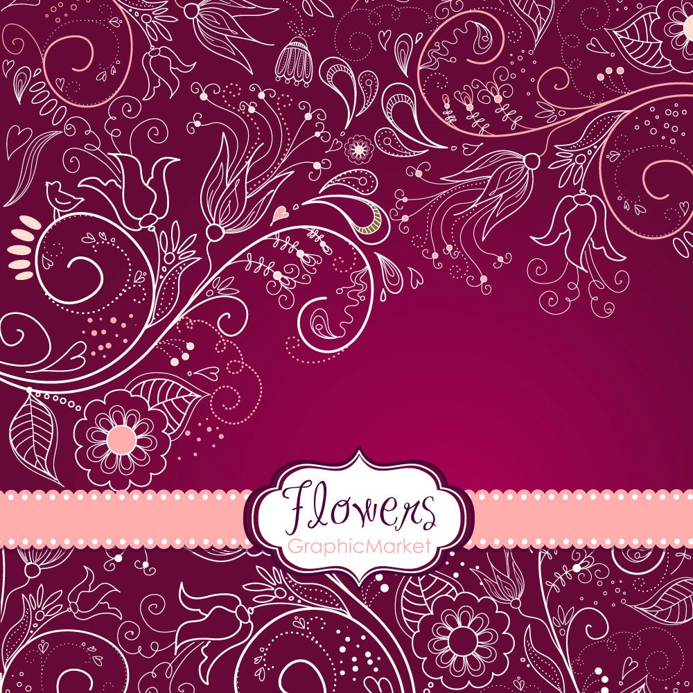 How to scrapbook wedding cards - 8 Flower Designs Digital Paper And A Floral Border Clipart For Scrapbooking Wedding Invitations Personal And Small Commercial Use