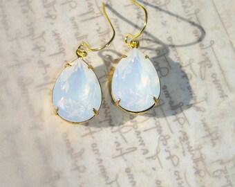 White Opal Swarovski Crystal Earrings