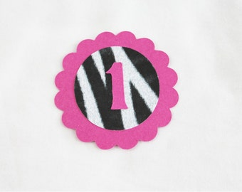 10 Zebra and Hot Pink Die Cuts featuring your child's age