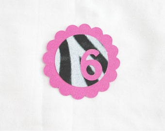10 Zebra and Hot Pink Die Cuts features your child's age - offset