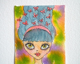 Watercolor miniature, miniature painting, artist trading card, original aceo, aceo watercolor, aceo painting, portrait aceo, woman aceo