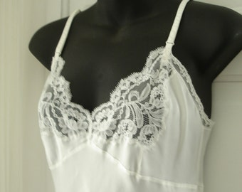 Luxury Designer Vintage Christian Dior for I Magnin White Silky Soft Nylon Full Slip bust 34""