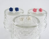 SALE Pink, White, Navy Blue Rose Floral Earrings Stud Set