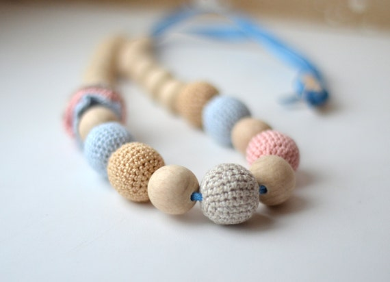 FREE SHIPPING - Pastel Crochet Nursing Necklace - Teething necklace - Beige, Blue, Grey, Pink - Flower necklace