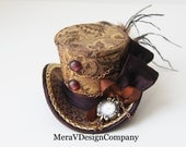 Brown Gold Mini Top Hat, Steampunk, Women Headpiece, Bridal Hat, Party Hat, Mad Hatter Hat, Working Clock, Victorian  Ready To Ship - MeraVDesignCompany