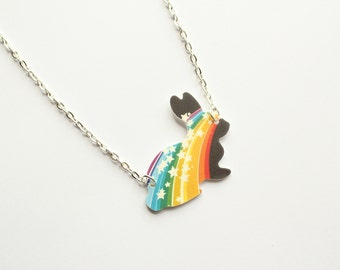 Cute and colourful black rainbow bunny with white stars, kawaii, galaxy, space, stars, rabbit, plastic, rainbow,