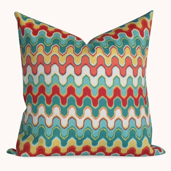 Items Similar To Outdoor Geometric Teal Red Yellow