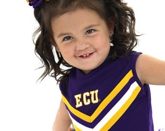 Korker Hair Bow, Purple Yellow Gold Curly Ribbon Pigtails, Girls Korker Hairbow, Cheerbows, Cheerleader,Football Cheers, School Spirit Team