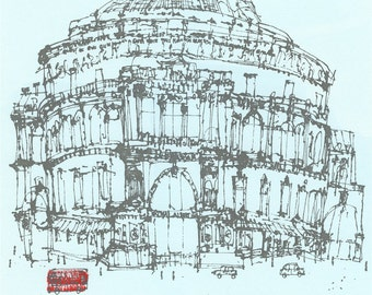 ROYAL ALBERT HALL London Red Bus, Original Hand Painted Screen Print Clare Caulfield, Quirky line Drawing, London Architecture, British Art
