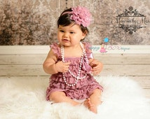 Baby Girls' clothing, Vintage style Dusty Rose Petti Romper,baby girls Rompers,wedding flower girl,Baby girls bodysuit,birthday outfit, baby
