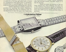 Hamilton Watches Original 1968 Vintage Print Ad Color Photo Old Watch - Grandfather's Heirloom New Watch - Grandchildren's Heirloom