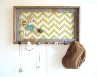 Jewelry Organizer Jewelry Holder Barnwood Frame Chevron Distressed Bedroom Decor- 7 Vintage knobs