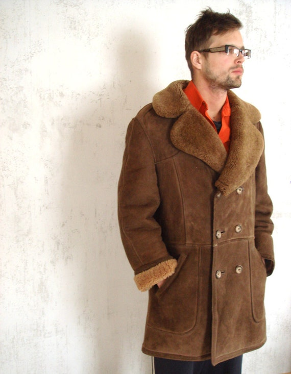 Genuine Men&39s Shearling Coat Vintage Shearling by GrandpasParty
