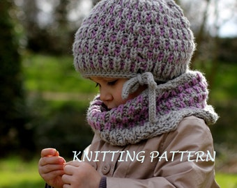 Knitting Pattern For Russian Hat : PDF Knitting Pattern - Hat and Cowl COOL WOOL (Toddler, Child, Adult sizes) -...