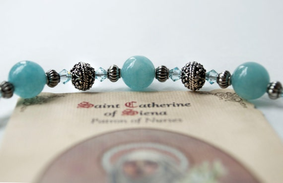 St. Catherine of Siena Patron of Nurses, Rosary Bracelet with Novena and Prayer Card, Gifts for Nurses, Catholic Bracelets