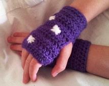 Kids fingerless gloves purple polka dot crochet childrens gloves