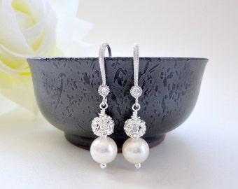 Wedding pearl earrings with crystal fireballs, Pearl rhinestone earrings in silver