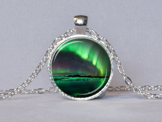 northern lights pendant emerald green aurora by