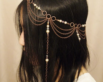 Art Nouveau Headdress - Copper Czech Glass Beads and Pearls Circlet Headdress - Adjustable Size - One of a Kind