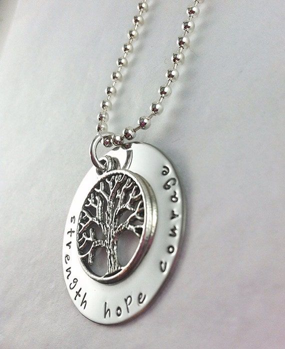 strength hope courage hand stamped necklace