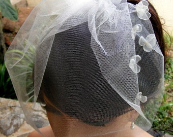 White or Ivory blusher birdcage veil with Organza flowers, Illusion veil, Voilette