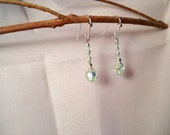 Lightest Green Sparkling Czech Glass Crystals with Silver Filigree and Accents