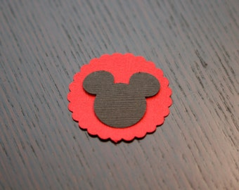Mickey Mouse Die Cut with Red Scallop Background, set of 12