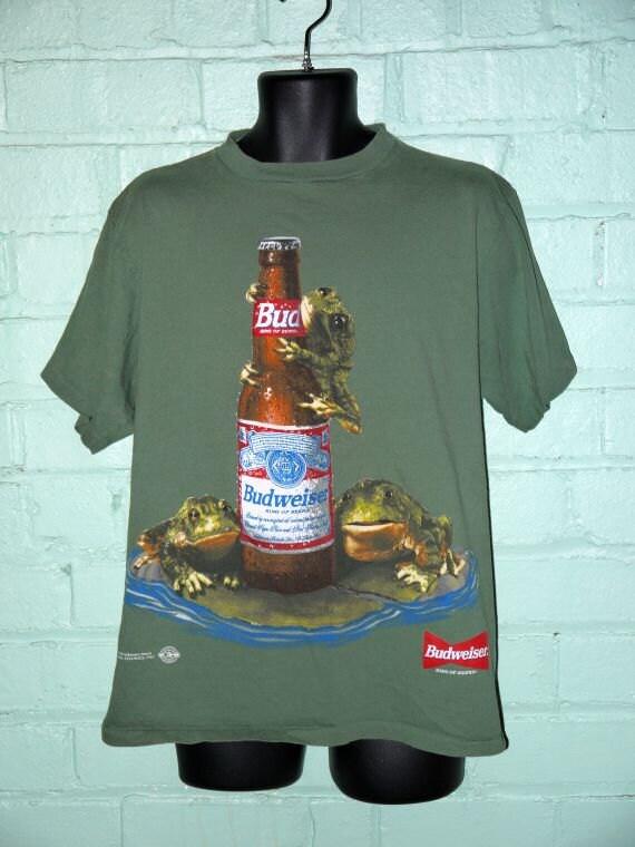 Vintage 90s Green Budweiser Frogs T Shirt Tee Shirt Kitsch