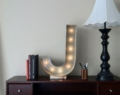 Vintage Inspired Marquee Light- Letter J, home decor, lighted letter, marquee letter, marquee light, letter, vintage, initial, wall art