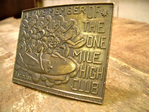 Vintage Brass Belt Buckle, Mile High Club, Lewis Buckles, Chicago, Mens Belt Buckle, Airline Collectible, Airplane Decor, Mile High Gift