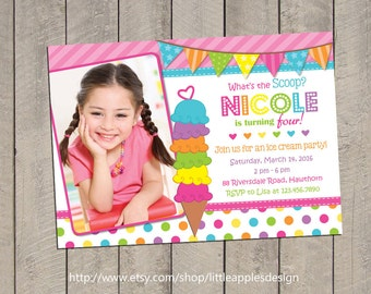 Ice Cream Invitation / Ice Cream Birthday Party Invitation /  Ice Cream Party / Rainbow Invitation Digital Printable DIY