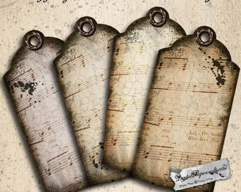 Antique Grungy Sheet Music Printable Tags - Distressed Music Tags for Journal & Scrapbook Paper Crafts -Vintage Printable Music Tags